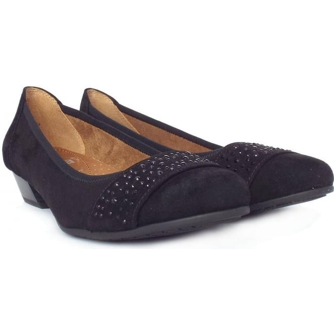 Jana Stamford Black Suede Women S Smart Casual Wide Fit Court Shoes