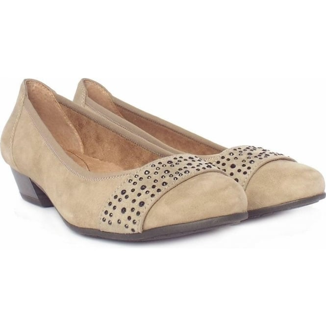 00ef24280bec8 Jana Stamford Taupe Suede | Women's Smart-Casual Wide Fit Court Shoes