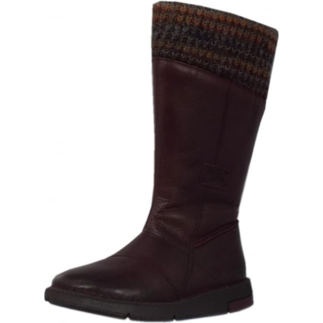 Stephanie Balance Calf Length Boots in Bordeaux Leather