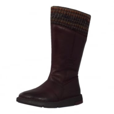 Stephanie Balance Calf Length Boots in Bordeaux Leather