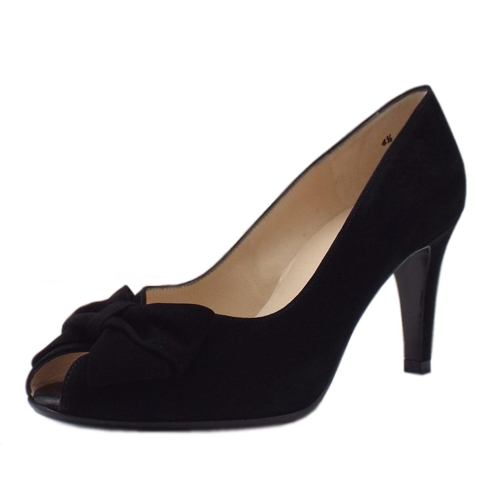 sneakers for cheap 3f95b feb26 Stila Ladies Peep Toe Shoes in Black Suede
