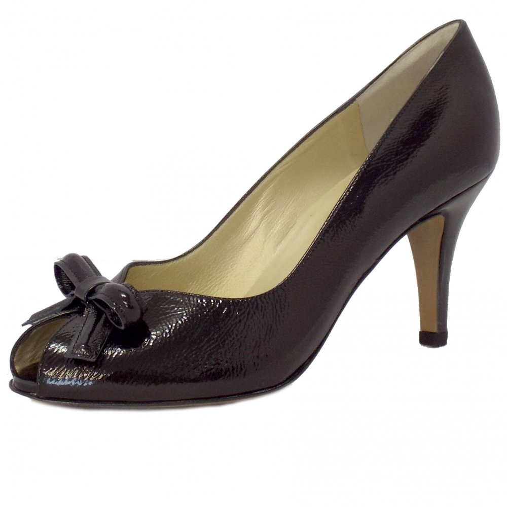 Peter Kaiser Suomi Ladies Peep Toe Shoes In Black Patent