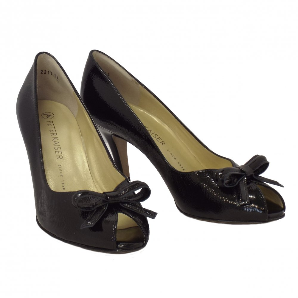 kaiser suomi peep toe shoes in black patent