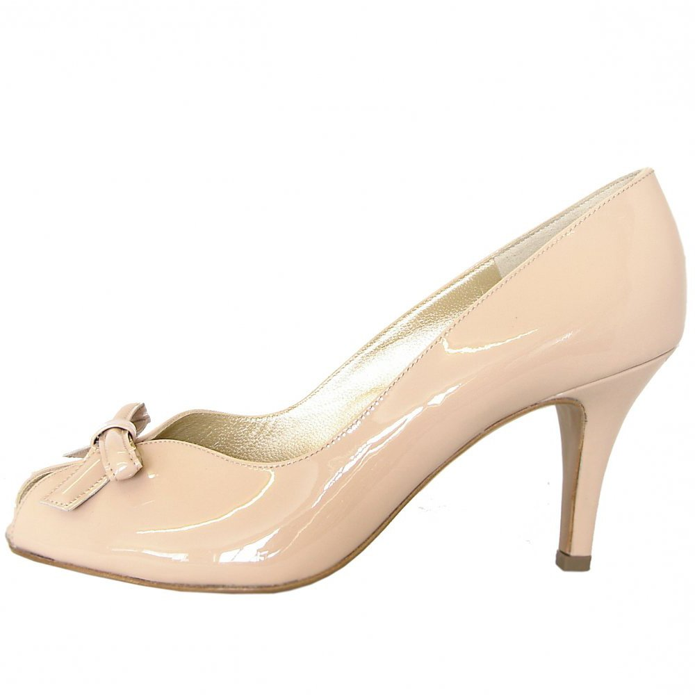 Peter Kaiser Suomi | Peep toe mid heel shoes in nude patent finish