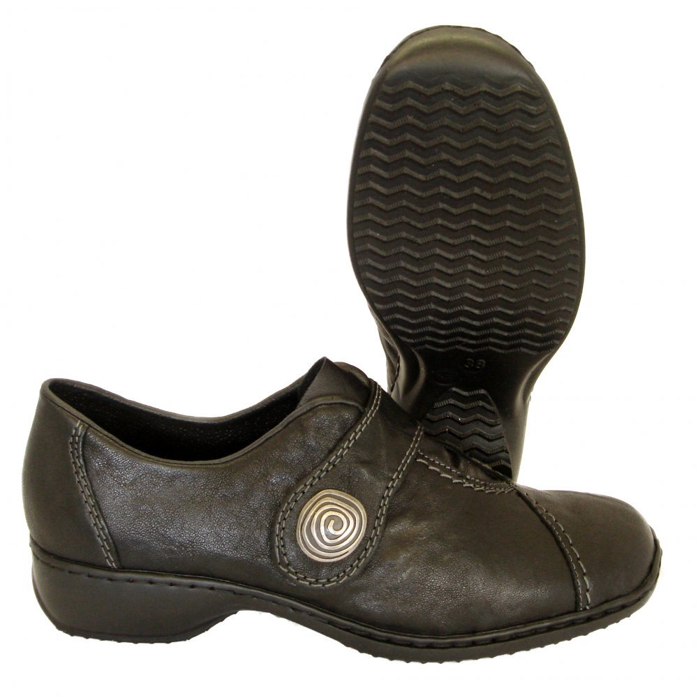 reiker swanky black leather velcro womens shoes slip on