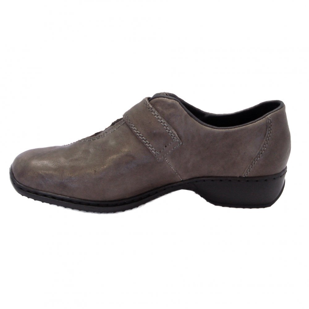 reiker swanky grey leather velcro fastening shoes mozimo