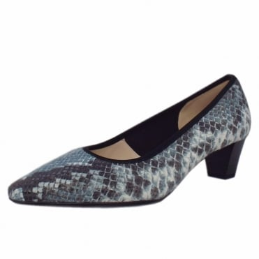 Swenja Classic Semi-Pointed Mid Heel Court Shoes in Azur Diano