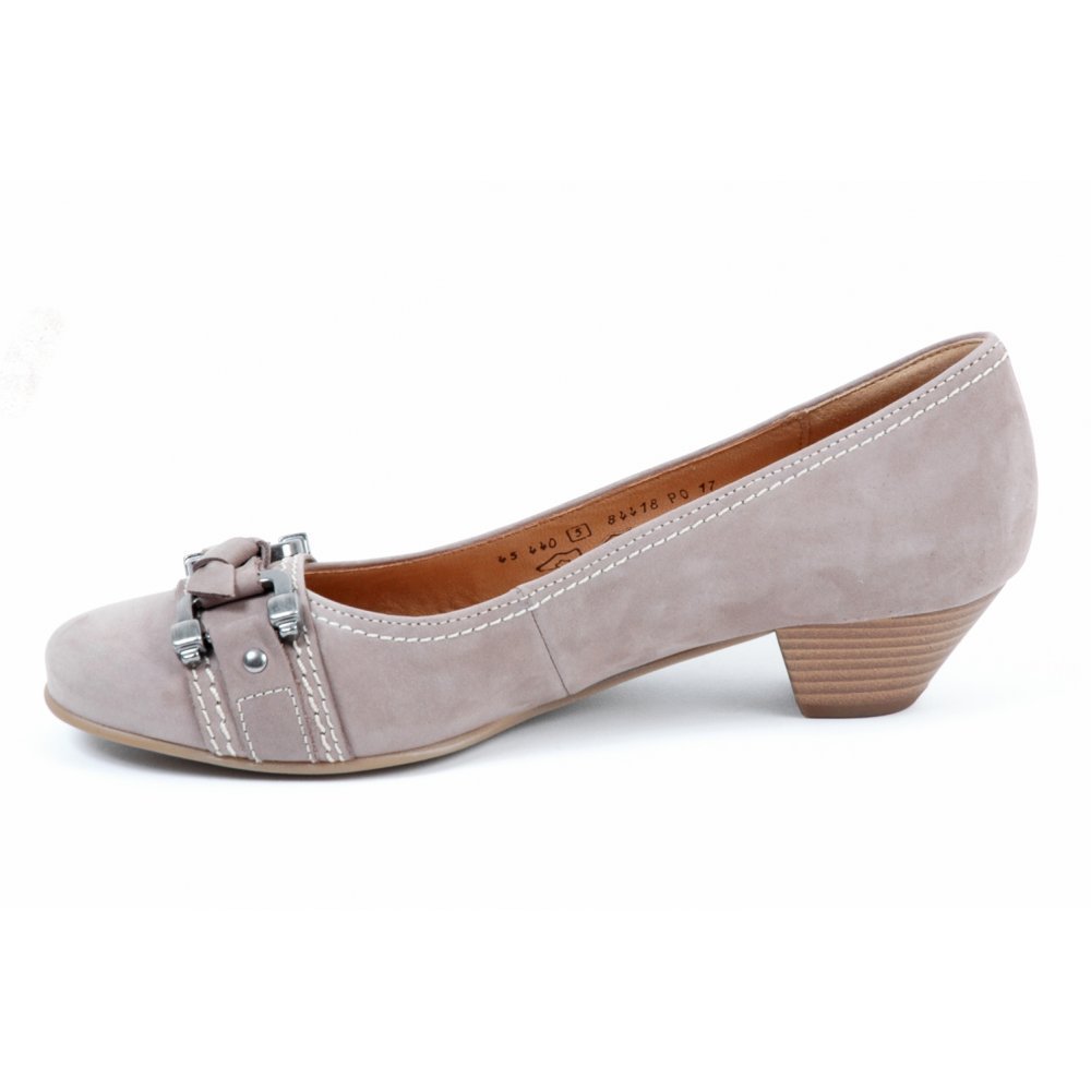 gabor shoes low heel court shoe in taupe