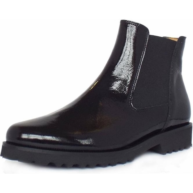 384d80efc Gabor Teagan | Women's Modern Chelsea Style Ankle Boot in Black Patent