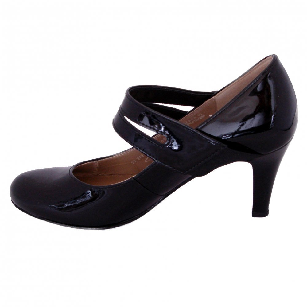 gabor shoes tegan womens mary jane court shoe in black patent mozimo. Black Bedroom Furniture Sets. Home Design Ideas