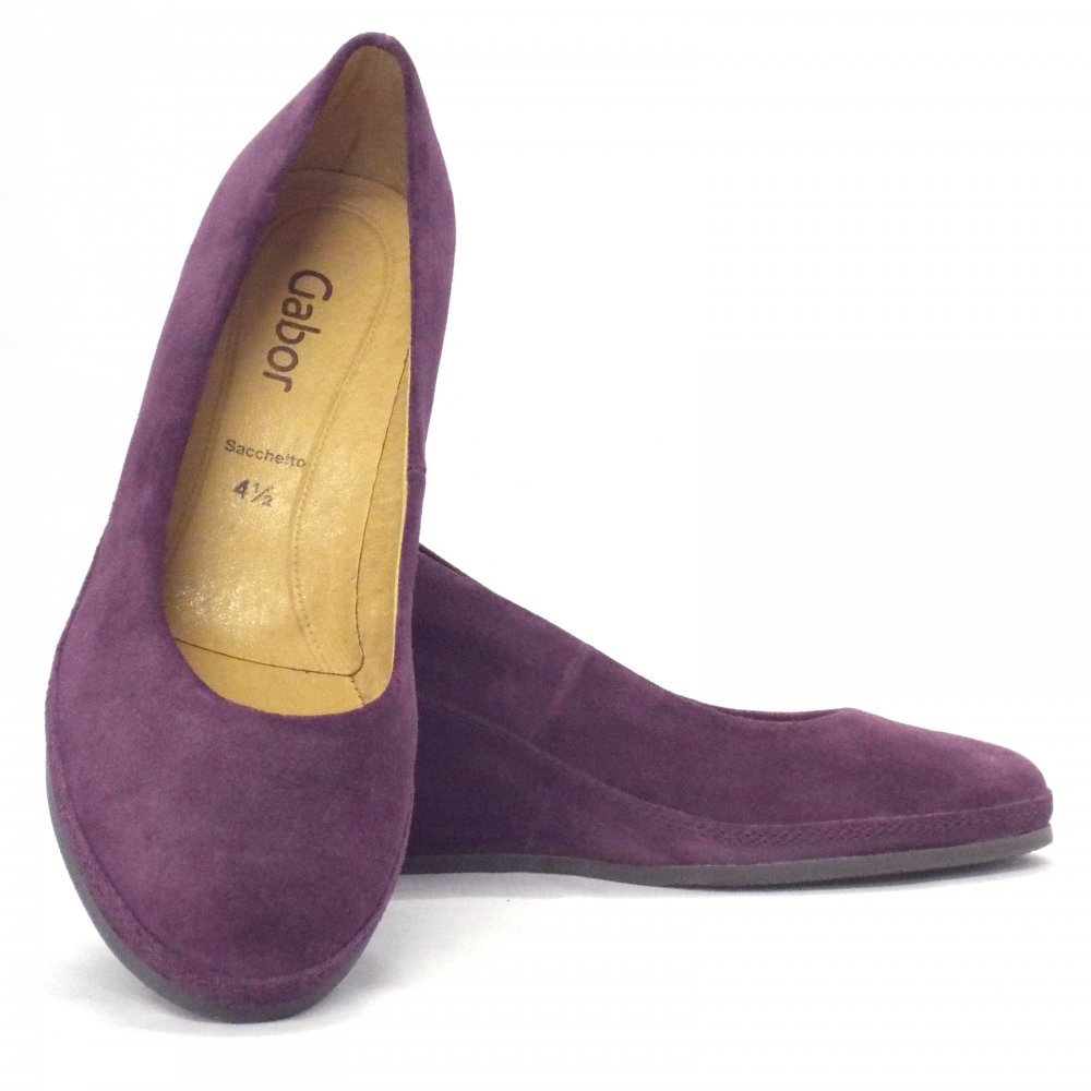 Gabor Shoes Teller Womens Wedge Shoe In Purple Suede
