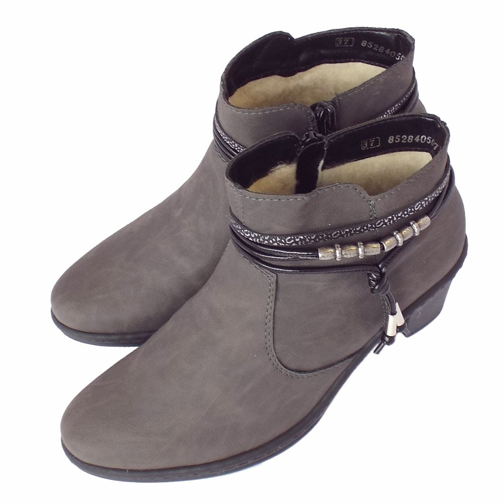 Rieker Thame 54953-45 | Women's Grey Ankle Boots Lambswool Lined