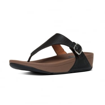 FitFlop The Skinny™ Women's Toe Post Sandal in Black Embossed Leather