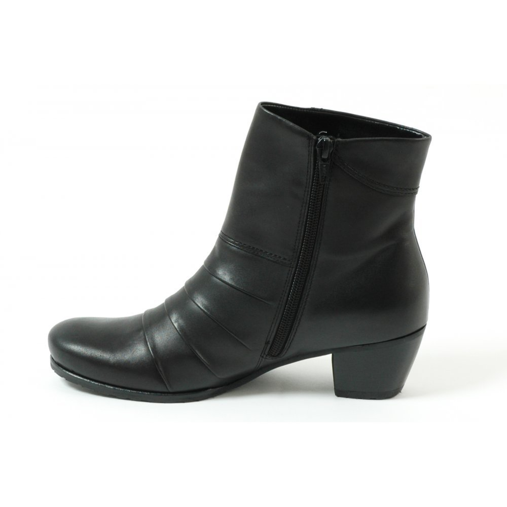 Gabor Boots | Tiger Womens Ankle Boot in Black Leather| Mozimo