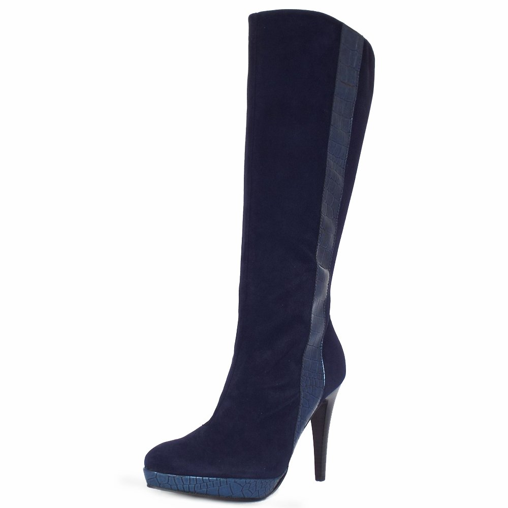 Peter Kaiser Tilla  Ladies High Heel Navy Suede Boots  Mozimo