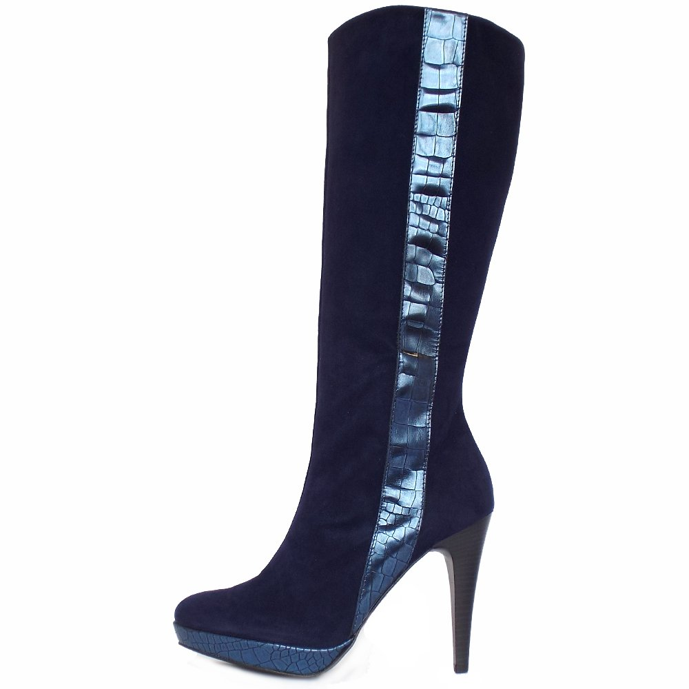 Awesome Home  Womens  Dawson Knee High Boots In Navy Leather