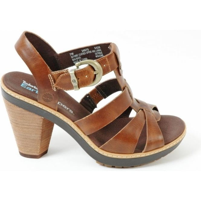298edd236d7ee Timberland Timberland 24670 Chauncey Women's leather strappy sandal with  wood effect heel