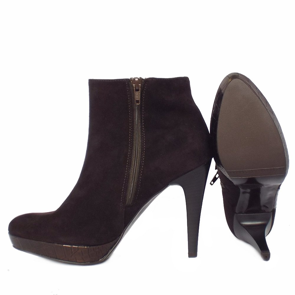 kaiser tissi high heel ankle boots in brown suede