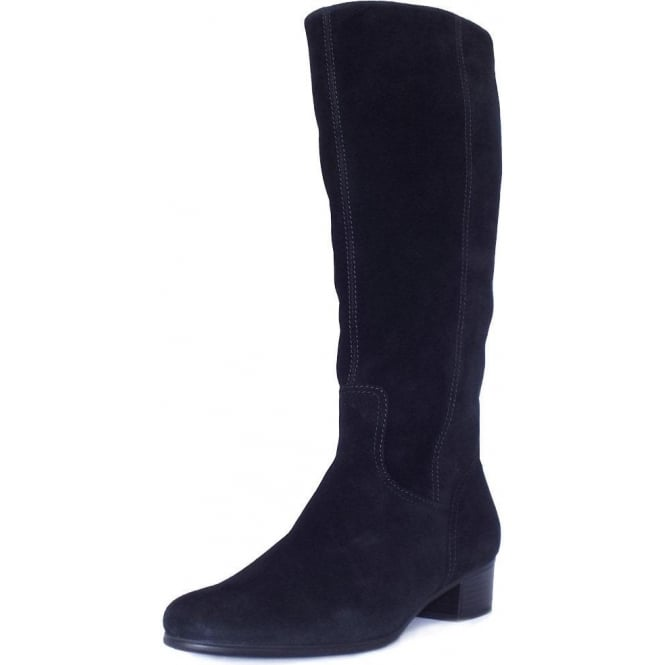 picked up cheap for sale super cheap Gabor Toye | Knee High Black Suede Boots, Low Heel | Mozimo