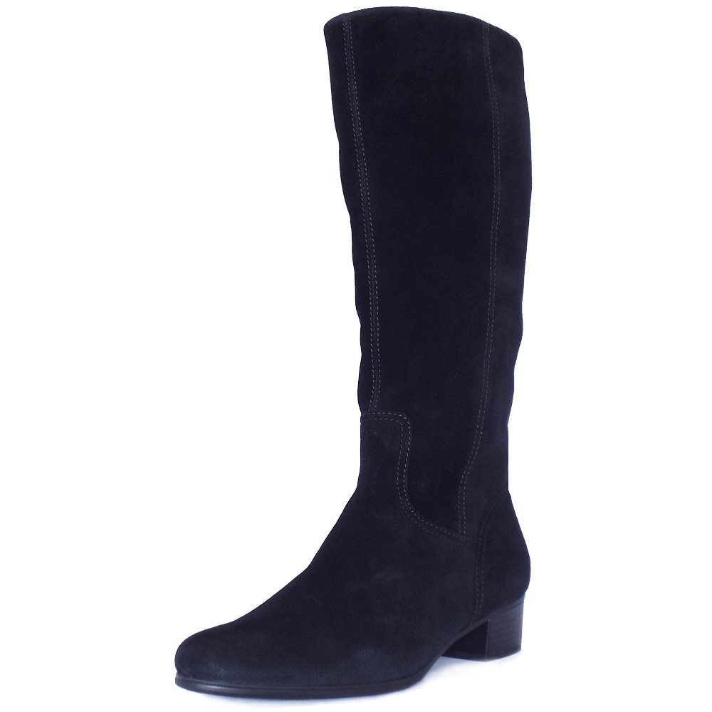 gabor toye knee high black suede boots low heel mozimo