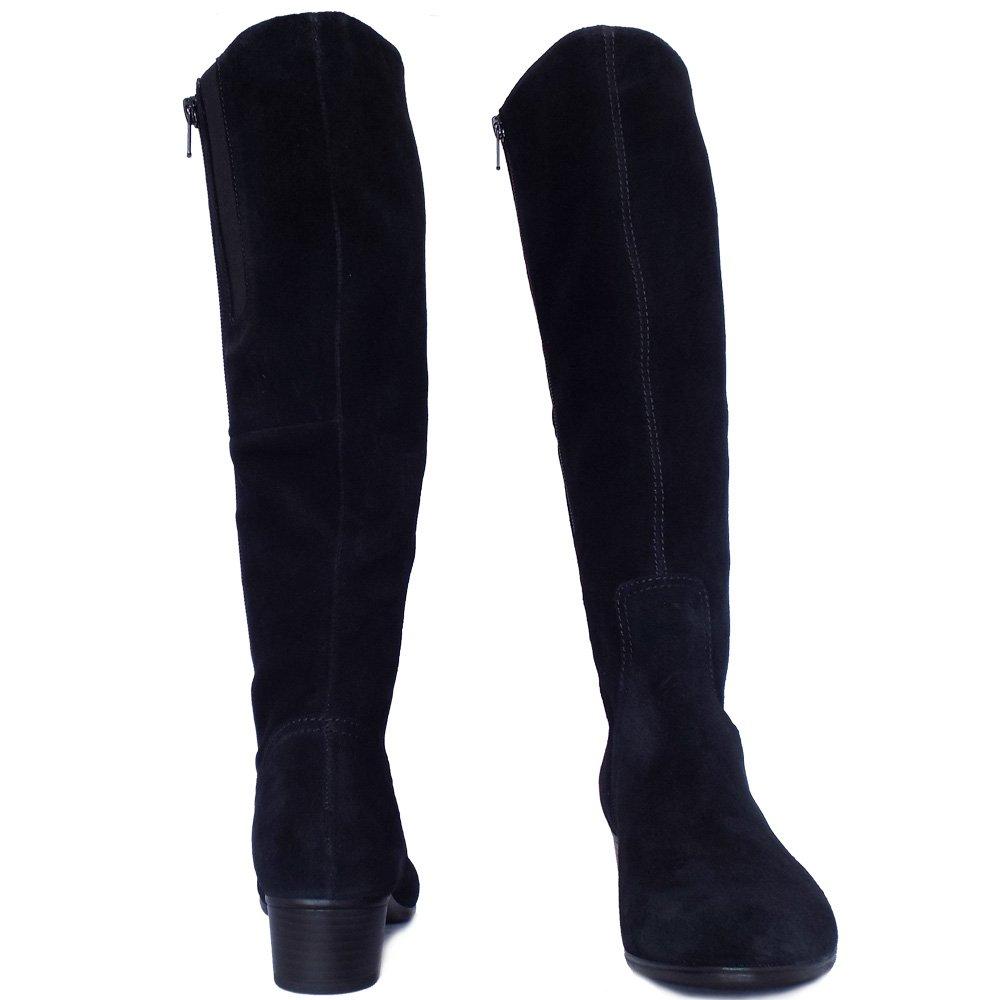 gabor toye knee high black suede boots low heel mozimo