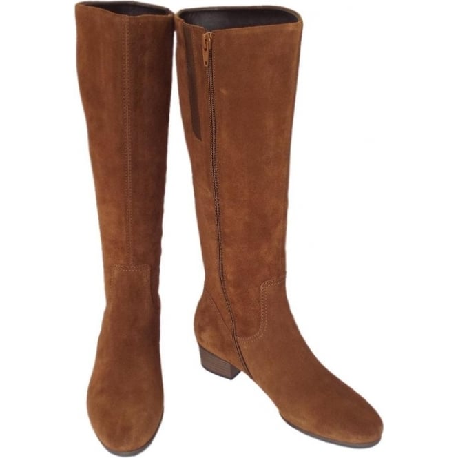 8278fe3f1fa3b Gabor Toye | Trendy Knee High Camel Suede Boots, Low Heel | Mozimo
