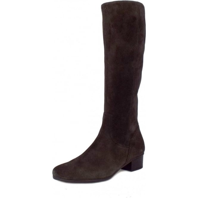 reliable quality elegant and sturdy package 60% cheap Gabor Toye Knee Length Low Heel Boots in Dark Grey Suede