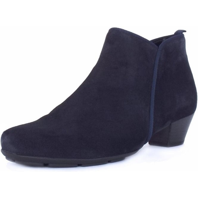 Trudy Mid Heel Ankle Boots in Navy Suede
