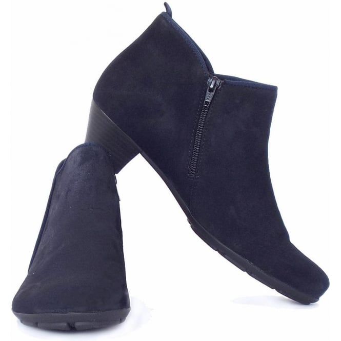 buy popular half off fast delivery Gabor Trudy Mid Heel Ankle Boots in Navy Suede