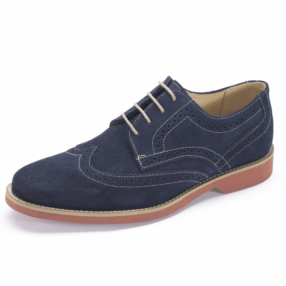 Suede upper Brogue detailing Contrast stitching and sole Lace-up fastening.