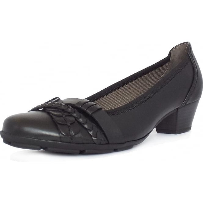Gabor Tyne Women S Smart Casual Low Heel Shoes In Black Leather