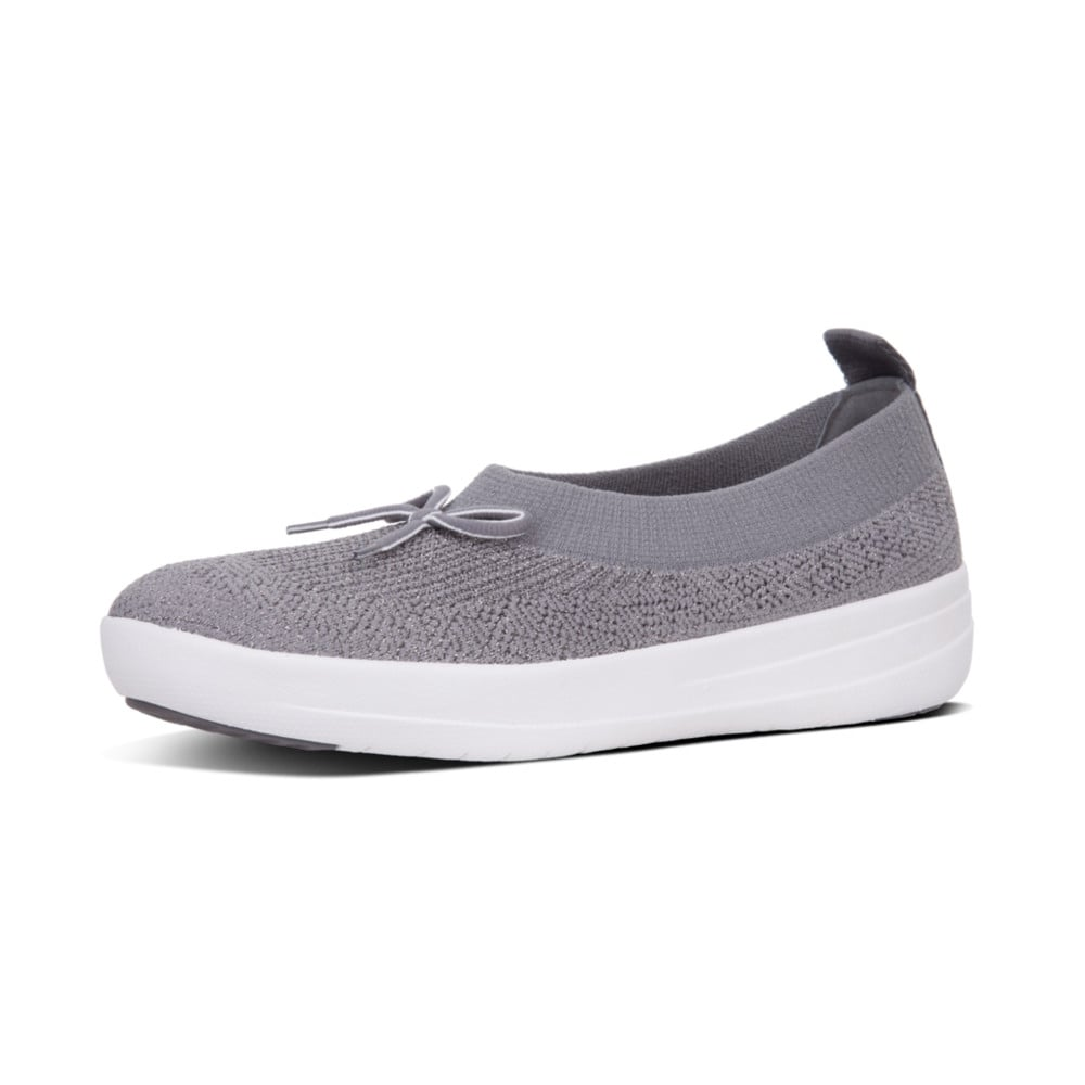 nuovo concetto e9a1f cc76f Fitflop Uberknit | Ballerina with Bow in Charcoal | Mozimo