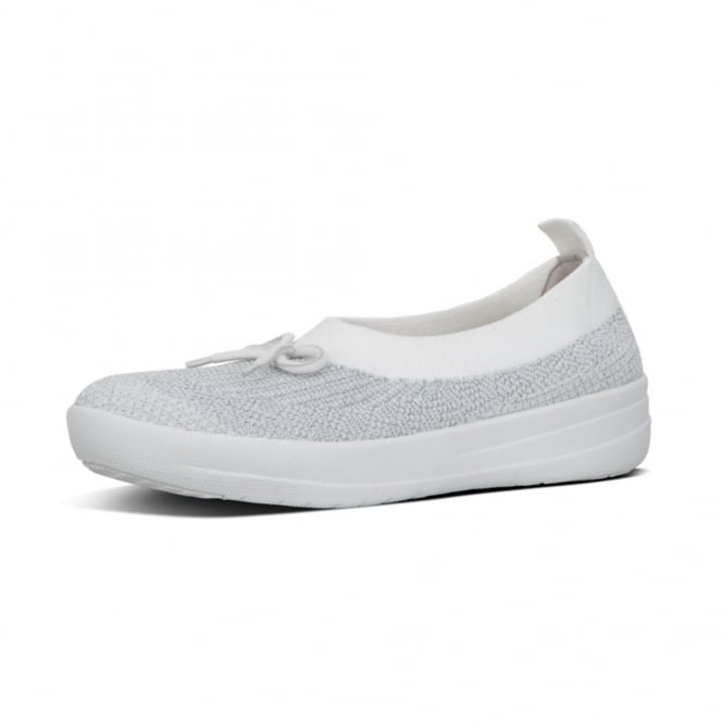 FitFlop Uberknit™ Ballerina with Bow - Metallic Weave in Silver