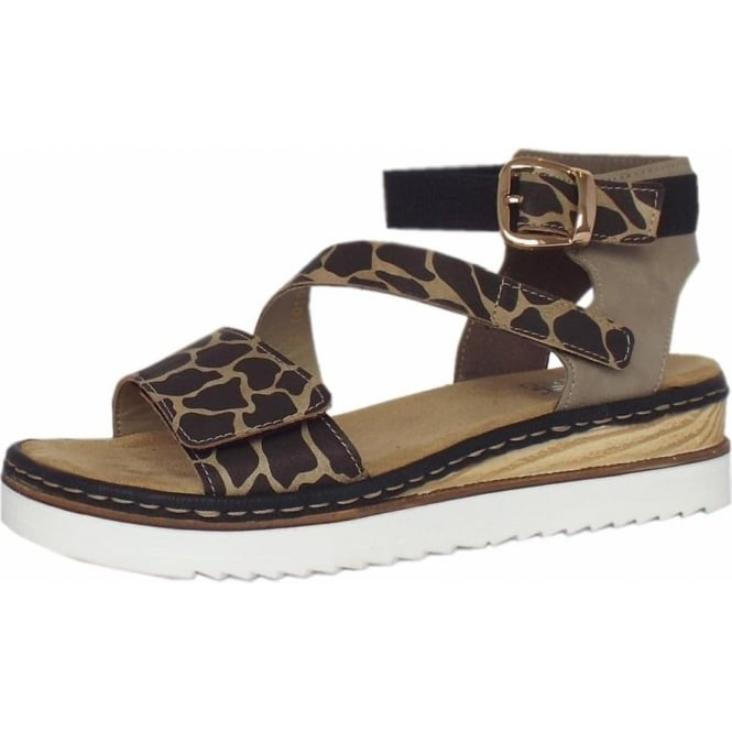 Ulusaba Animal Print Women's Ankle Strap Velcro Sandals
