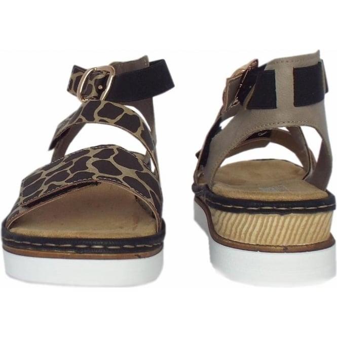 90326e4c9161 Ulusaba Animal Print Women  039 s Ankle Strap Velcro Sandals