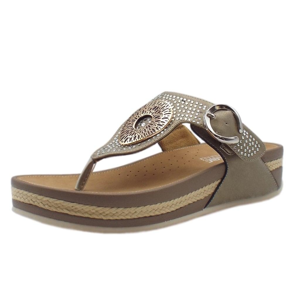 half off 01a4c 27829 Rieker V1460-62 Aztec Low Wedge Adjustable Sandals in Beige