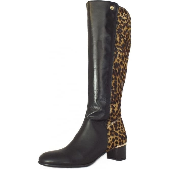 b77120e826177 Val d  039 Isere Knee High Leopard Print and Black Leather Boots