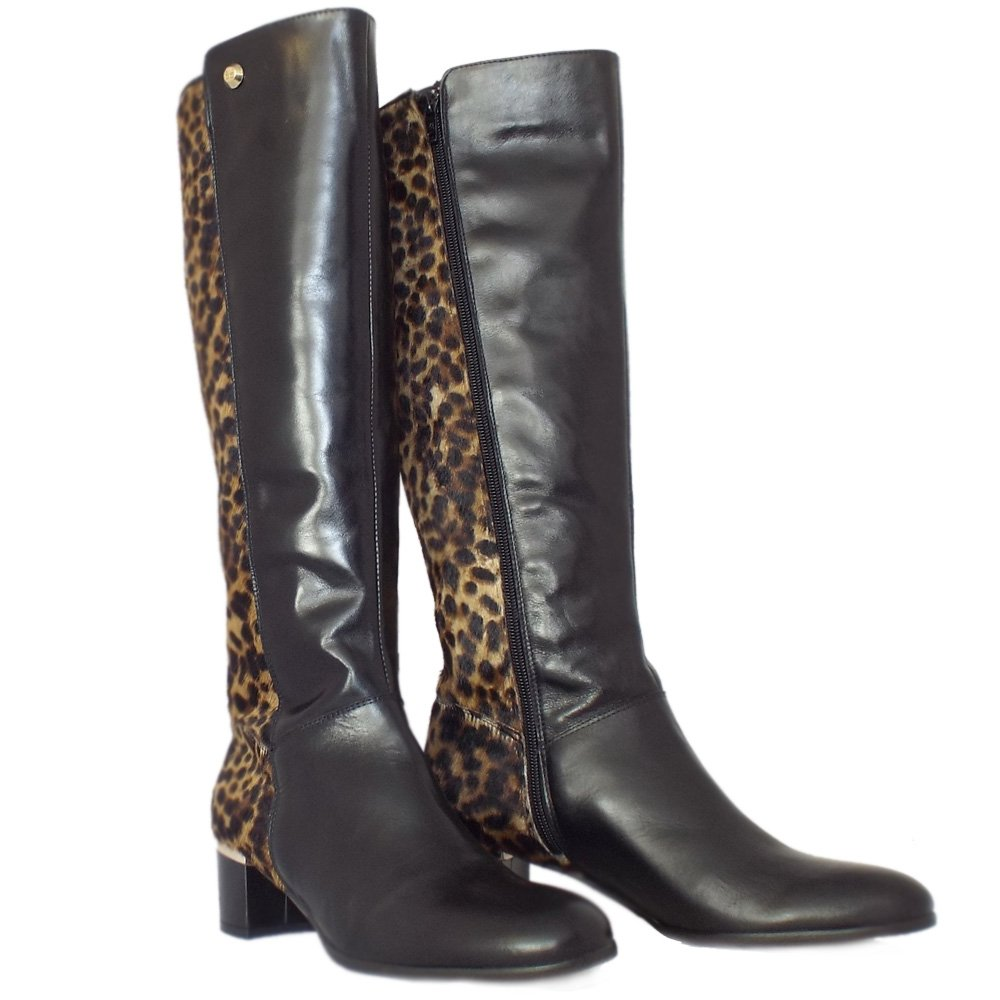 elysess val d isere leopard print and black boots