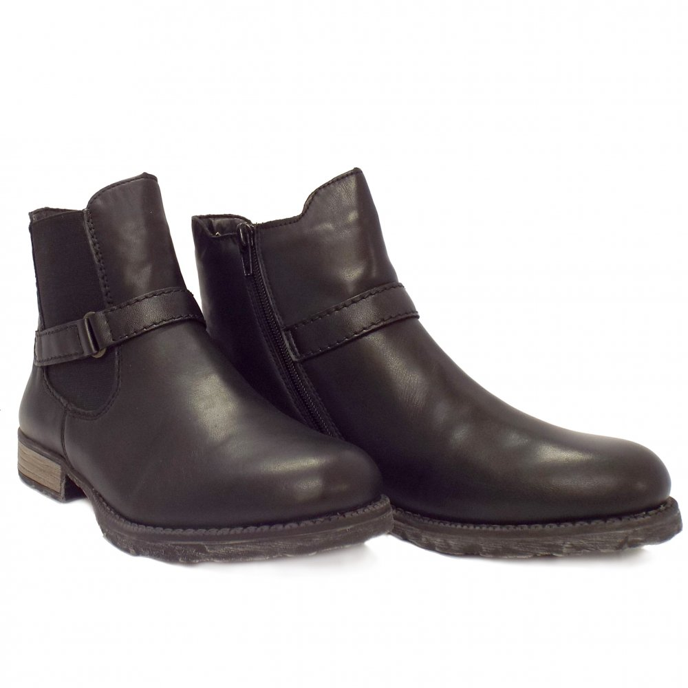 rieker valluta black leather chelsea style ankle