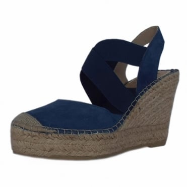 Cadiz High Wedge Espadrilles in Navy