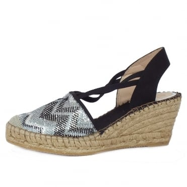 Carnival Low Wedge Espadrilles in Black Silver