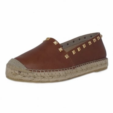 Vivian Trendy Platform Espadrilles in Tan Leather