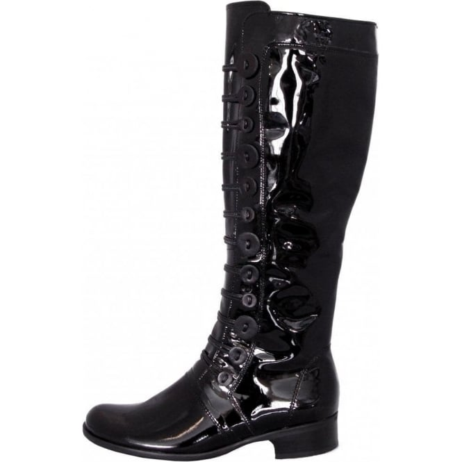 4e200269b65 Gabor Viola Womens Military Style Boot In Black Patent