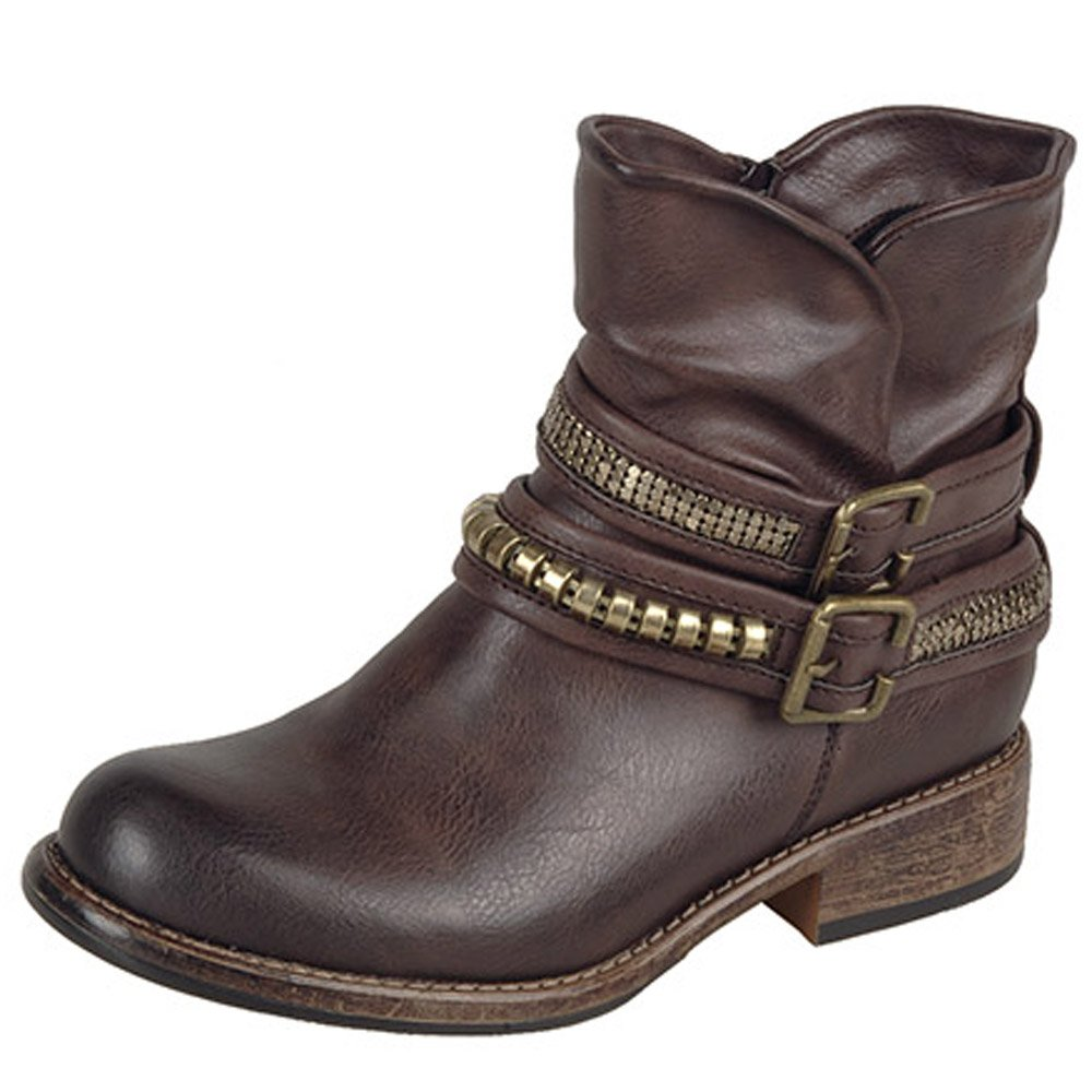 Elegant Home  Womens  Lorie Women39s Short Boots In Brown Leather