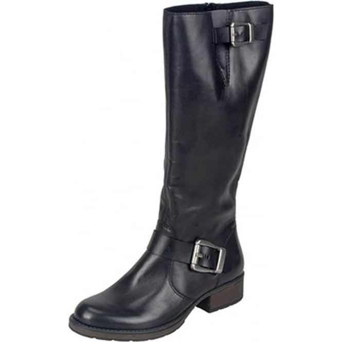 915e3dc8683 Rieker Winner Women's Wide Fit Long Boots in Black Leather
