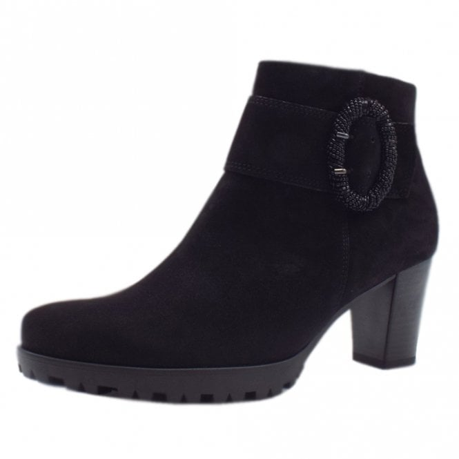 Gabor Winnie Modern Sporty Mid Heel Ankle Boots in Black Suede