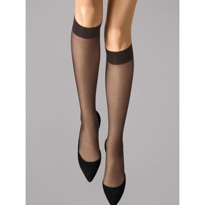 Wolford Satin Touch 20 Knee-Highs in Nearly Black