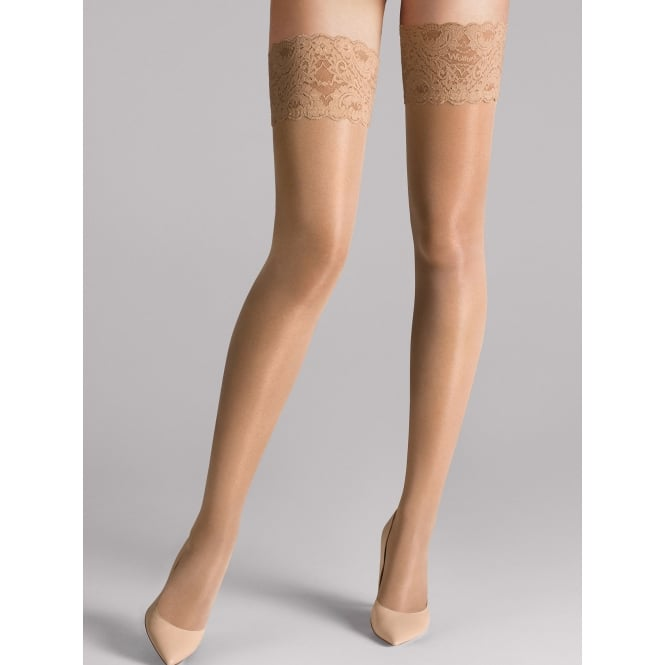 Wolford Satin Touch 20 Stay Up Tights in Caramel