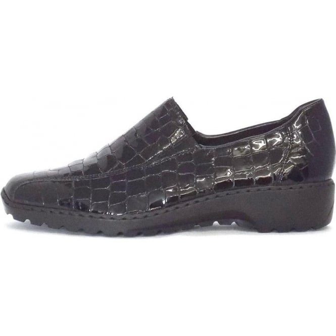 2f3712b736e8 Wonder Slip On Shoes in Black Crocodile