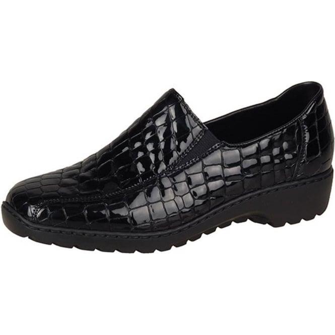 995bb6b52dab Wonder Women  039 s Casual Slip On Shoes in Black Croc Patent